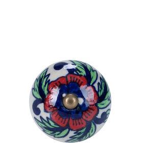 OPEN Möbelknopf Ornament rot-blau