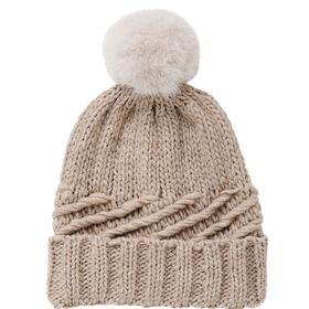 BOUTIQUE  Mütze Fake Fur Bommel creme/cr