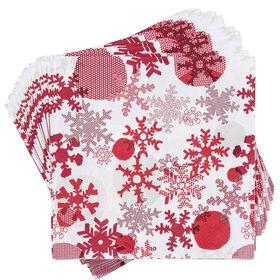 APRÈS Papierserviette Schneeflocken rot