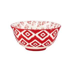 ORNAMENTS Porzellan Schale rot/weiß 15cm