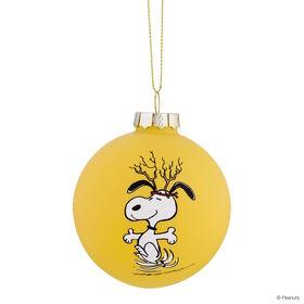 PEANUTS Glaskugel 8cm Snoopy/Geweih gelb