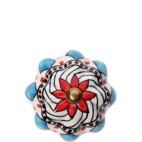 OPEN Möbelknopf Ornament rot/blau