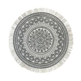 TAPIS Teppich rund 90 cm Blume grau
