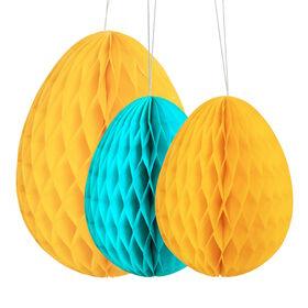 EASTER Papierdekoration Osterei 3er gelb