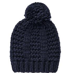 BOUTIQUE Strickmütze mit Bommel blau