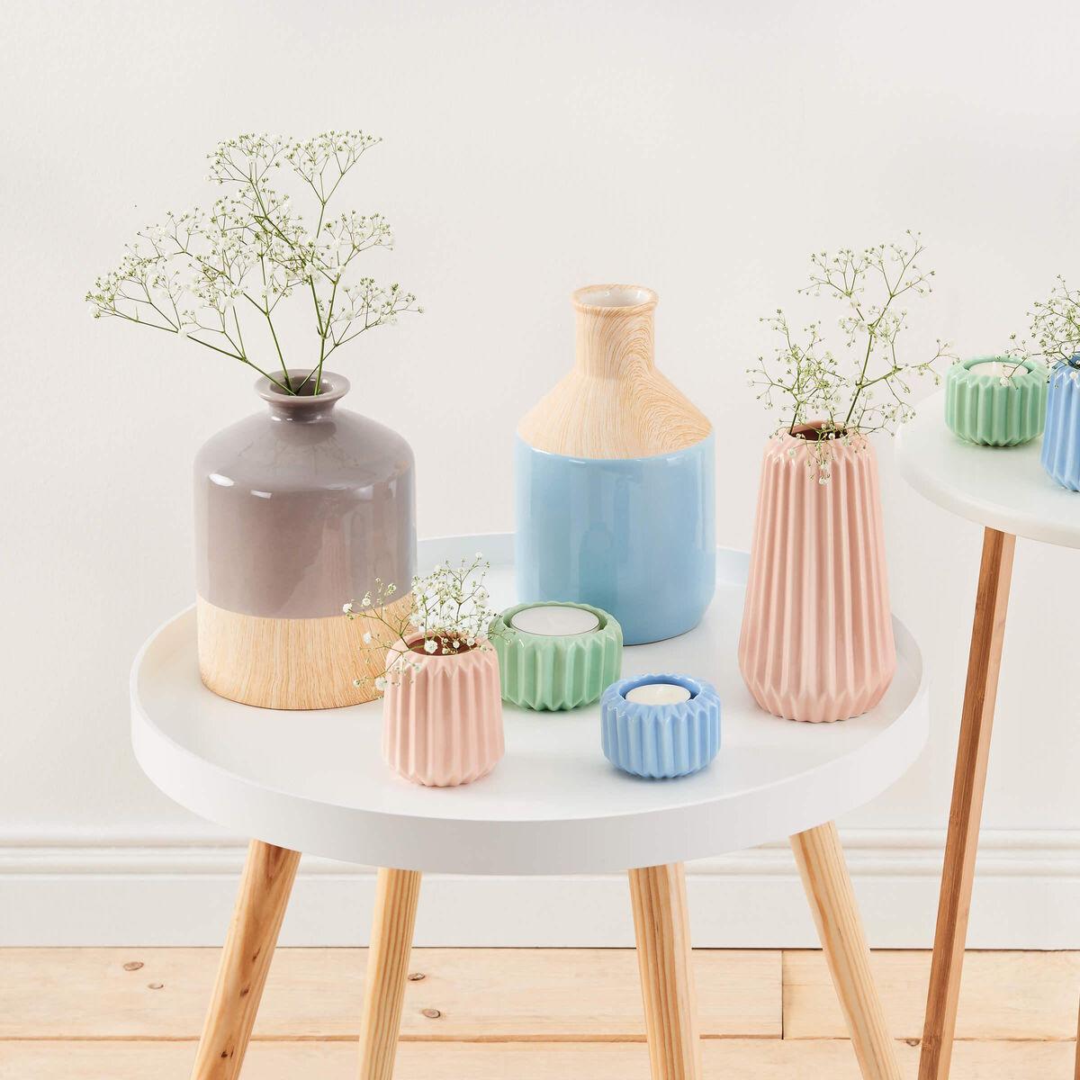 PASTELLO Keramik Vase hellblau/Holzoptik