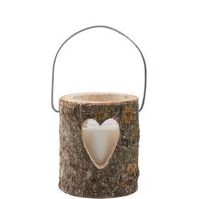 FOREST Holzlaterne mit Kerze 12cm Herz
