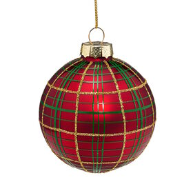 HANG ON Glaskugel 8cm Ornament rot/Karo