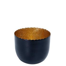 DELIGHT Teelichth. schwarz/gold D7cm