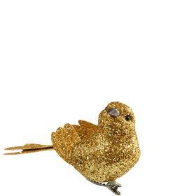 BIRDY Glitzervogel gold mit Clip L10cm