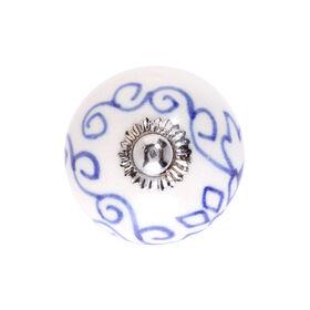OPEN Keramik Möbelknopf Ornament A blau