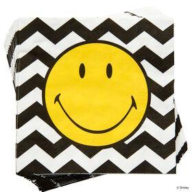 SMILEY Papierserviette Smiley s/w Wellen