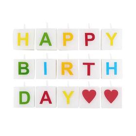 LOVE LETTERS Kerze Happy Birthday 15tlg.
