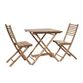 SAFARI Bambus Set, 1 Tisch & 2 Stühle