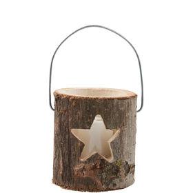 FOREST Holzlaterne mit Kerze 12cm Stern