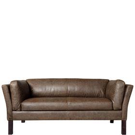 BARITONE Sofa 2 Sitzer Leder oliv-braun