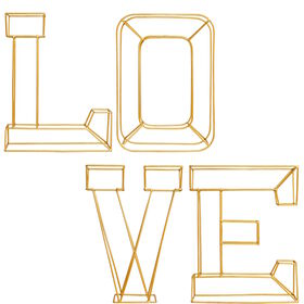 LOVE Deko Buchstaben Set, Metall