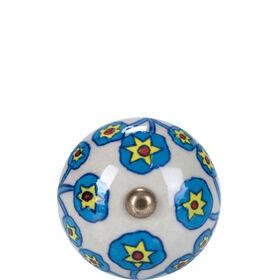 OPEN Möbelknopf rund Blume türkis