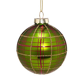 HANG ON Glaskugel 8cm Ornament grün/Karo