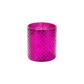 DELIGHT Teelichthalter Glas 8cm, fuchsia