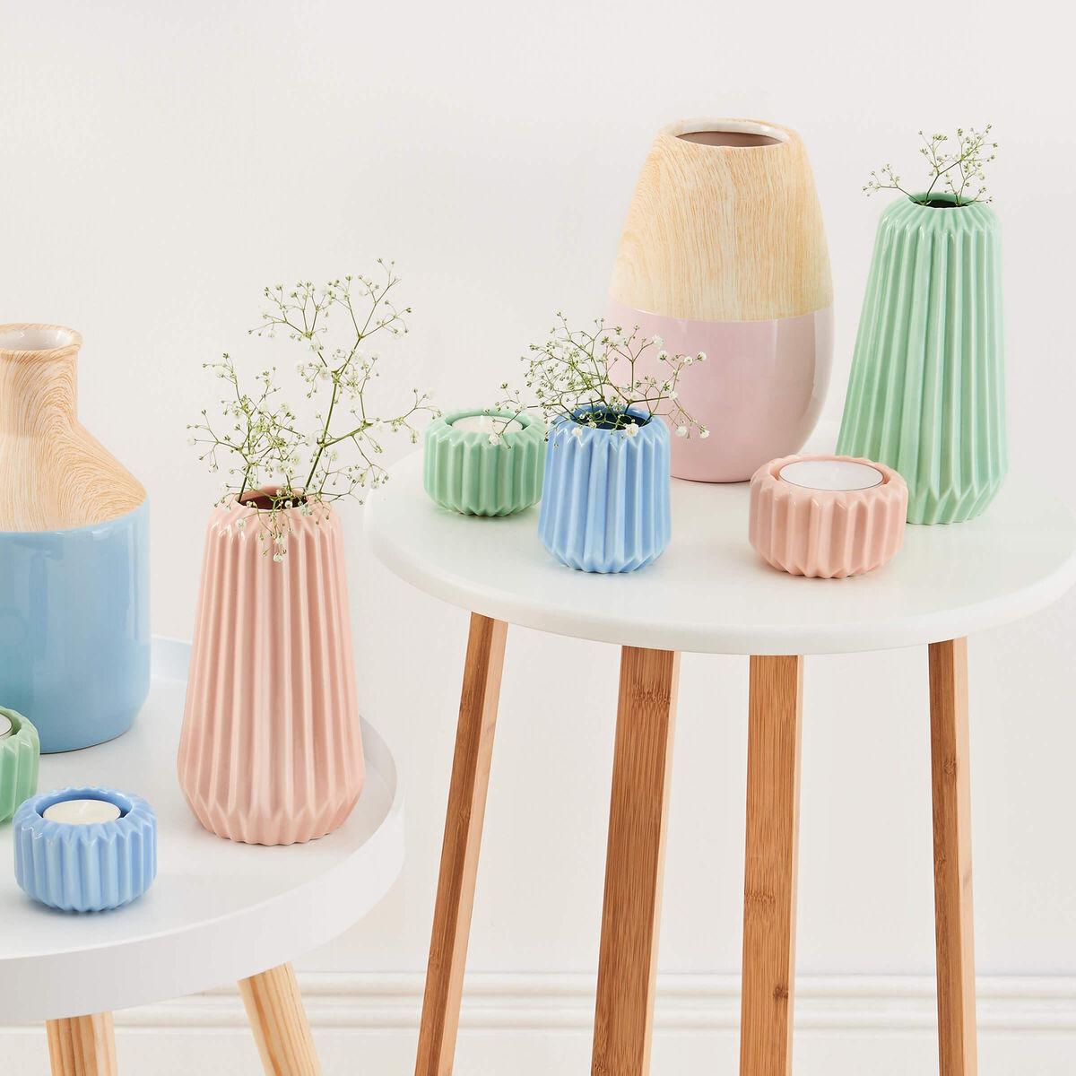 PASTELLO Keramik Vase rosa/Holzoptik