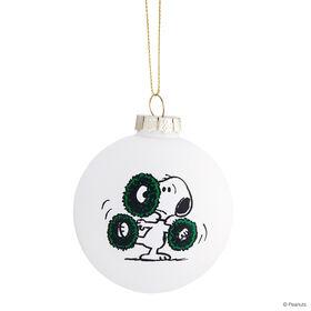 PEANUTS Glaskugel 8cm Snoopy/Kränze weiß