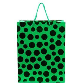 X-MAS Geschenktüte Punkte grün, groß