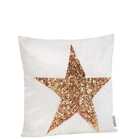 MIAVILLA Kissenhülle Star weiß/gold