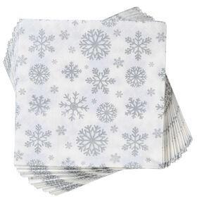APRÈS Papierserviette Schneeflocken silb