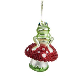 HANG ON Froschkönig auf Pilz, 12cm, Glas