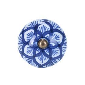 OPEN Möbelknopf rund Ornament blau