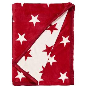 STARS Flanell Decke rot/weiße Sterne
