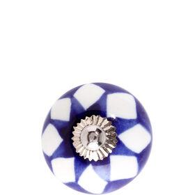 OPEN Keramik Möbelknopf Rauten blau/weiß