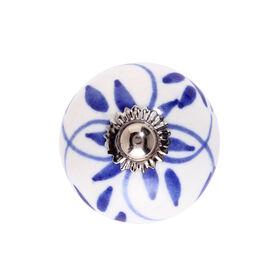OPEN Keramik Möbelknopf Ornament B blau
