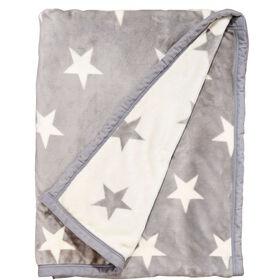 STARS Flanell Decke grau/weiße Sterne