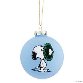 PEANUTS Glaskugel 8cm Snoopy/Kranz blau