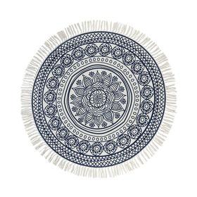 TAPIS Teppich rund 90 cm Blume blau