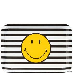 SMILEY Tablett gelb Smiley s/w Streifen