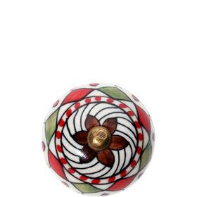 OPEN Möbelknopf rund Ornament rot/grün