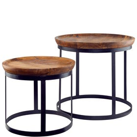WHEELER  Tisch 2er Set Mangoholz 35+45cm