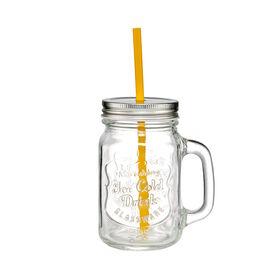 REFRESH Trinkglas mit Deckel u Strohhalm