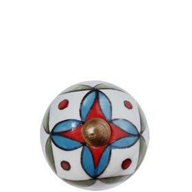 OPEN Möbelknopf rund Ornament gr/bl/rot