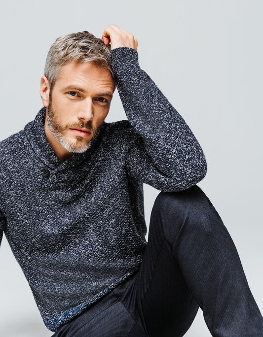 Pull homme col châle bicolore
