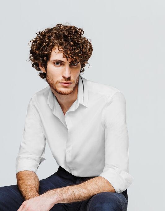 Chemise homme blanche regular col fantaisie