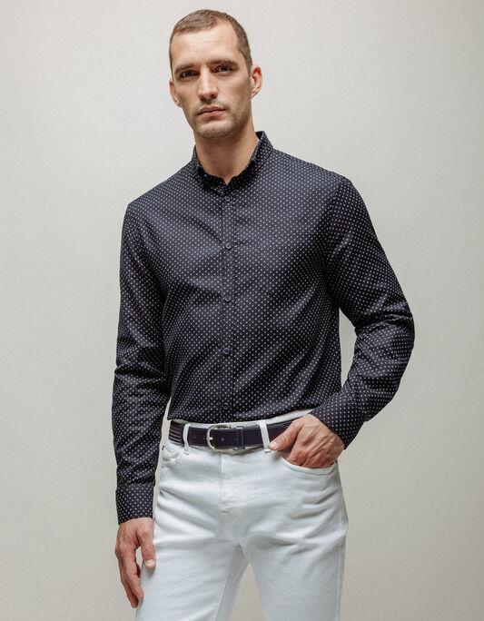 Chemise homme oxford coton imprimé coupe regular