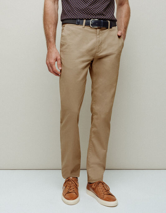Pantalon chino homme coupe regular beige