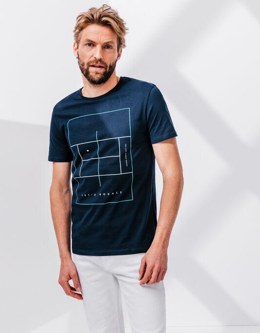 Tee-shirt homme bleu marine col rond terrain de te